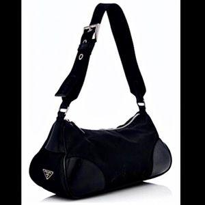 Vintage Prada Tessuto Vitello Small Shoulder Bag
